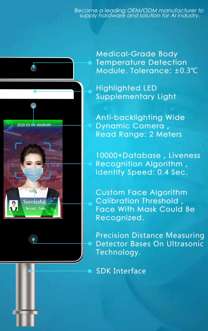 Facial recognition infrared thermometer and distance sensor YF120