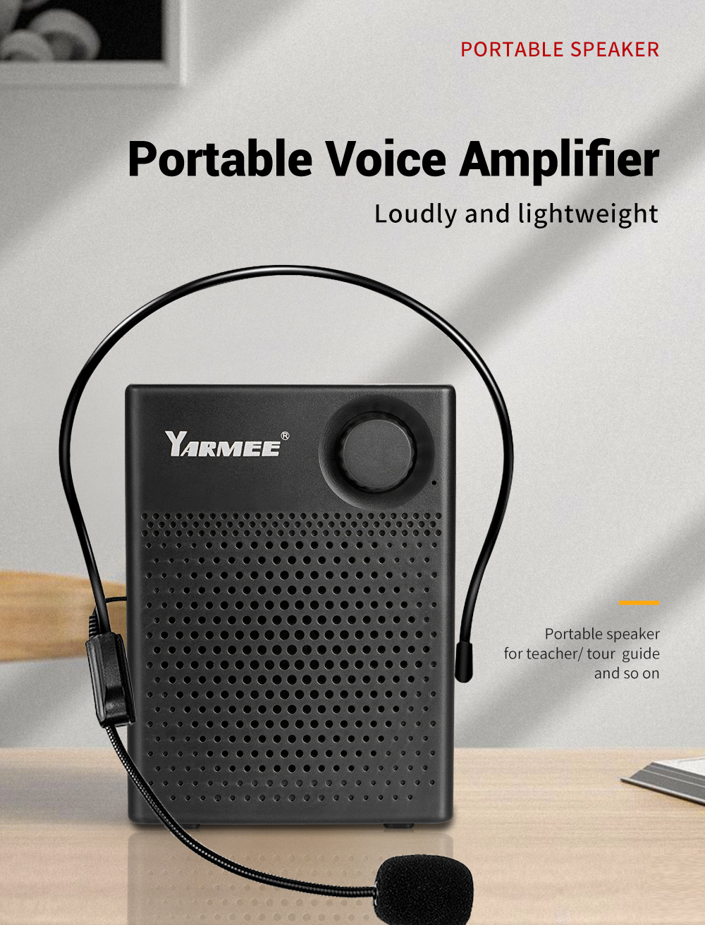 Portable amplifier with headset microphone