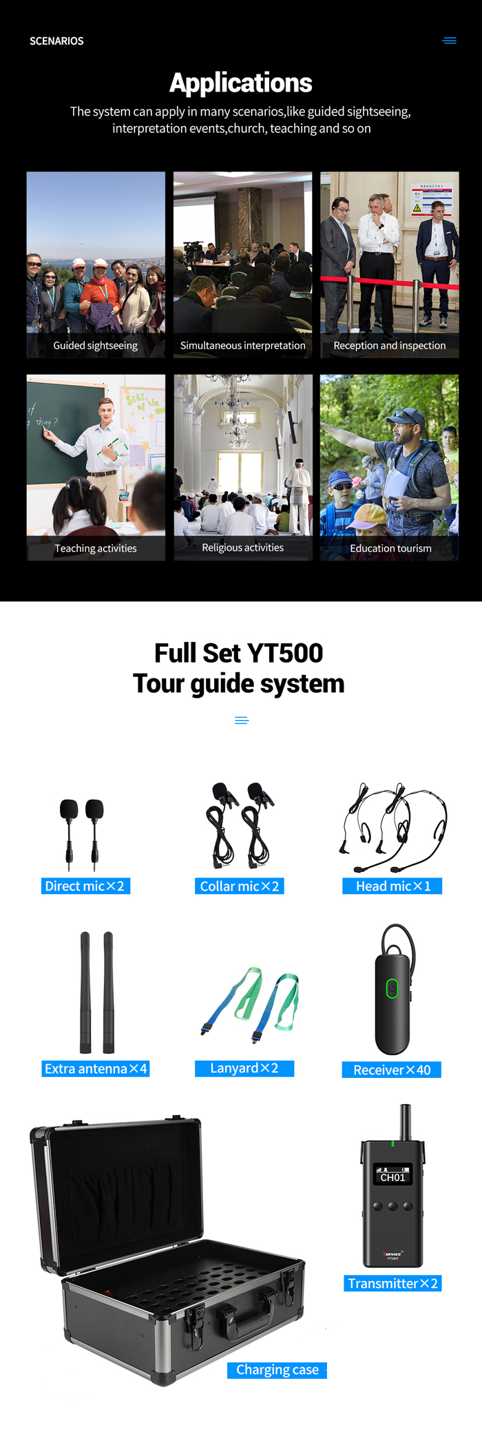 2.4G Wireless tour guide system ear hook receiver YT500