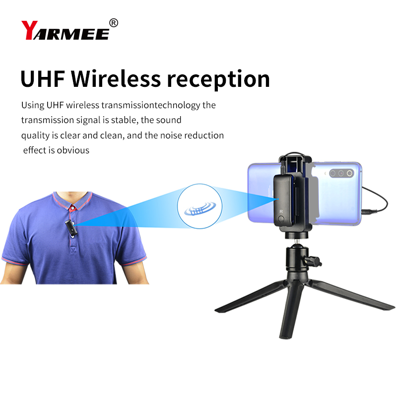 Audio UHF Wireless Lavalier Microphone System Wireless Interview Microphone For Camera Mobile Phone